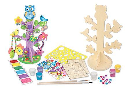 MasterPieces Works of Ahhh Jewelry Tree with Charms Large Wood Paint Kit