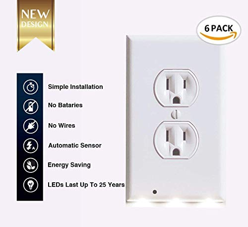 6Pack Illuminated Wall Outlet Plate, LED Night Light Plug Cover with Sensor Inductive Guidelight Easy Snap On No Wire Or Battery Needed Hallway Bathroom Stairway Decor by Sunshine-Light (Image #2)