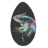 HANXIAODONG Lightweight Bodyboard for Kids 35 Inch Skimboard Full Printing Wooden Surfing Boarding for Kids and Adults Surf Beach Toys (Color : Black, Size : 35 inch)