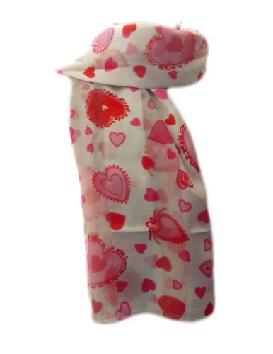 New Company Womens Valentines Day Hearts Scarf - White - One Size (Ladies Valentine Scarf Hearts)