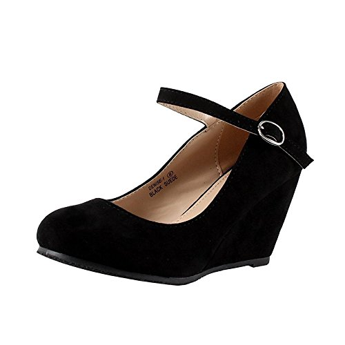 Black Women Wedge - Bella Marie Denise-1 Women's round toe wedge heel mary jane squeaky strap suede shoes Black 7.5