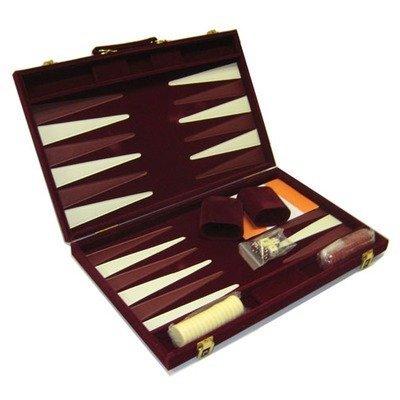 CHH Burgundy Suede 18 in. Backgammon Set