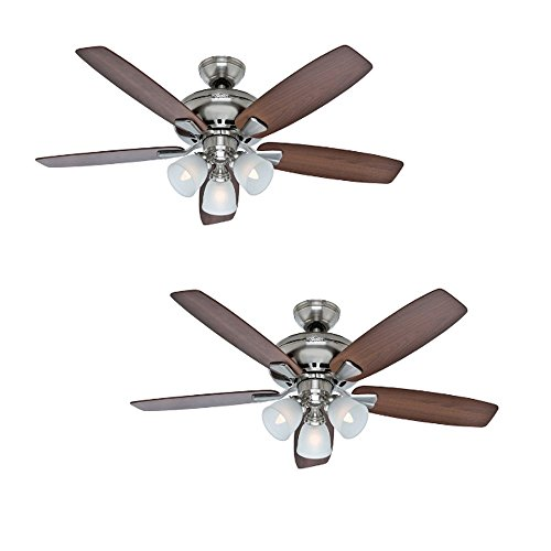 Hunter Winslow 52-in Brushed Nickel Downrod or Close Mount Indoor Residential Ceiling Fan with Light Kit Review