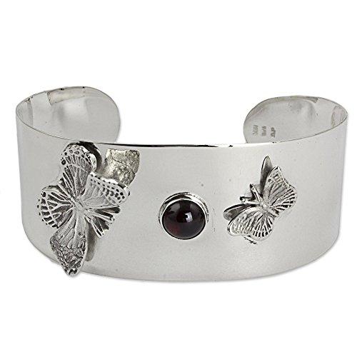 NOVICA Garnet Sterling Silver Cuff Bracelet 'Taxco Butterflies'