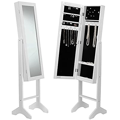 Beautify Mirrored Jewelry Armoire - Floor Standing Organizer Cabinet with Internal & External Mirror - White
