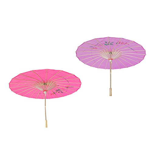 Homyl Pieces of 2 Elegant Women Wooden Handle Cloth Floral Umbrella Dance Prop Rose Red+Purple by Homyl