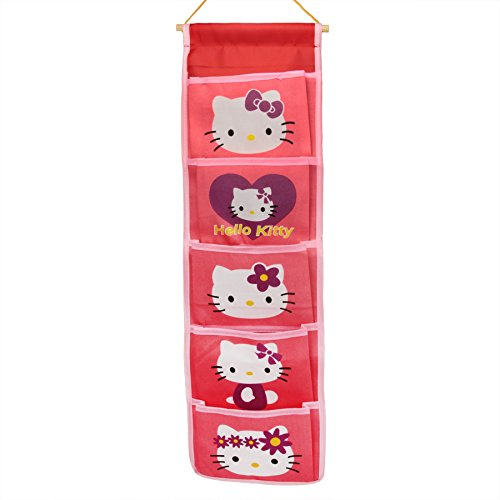 BXT Cute Cartoon 5 Pockets Over the Door Wall Closet Hanging Storage Organizer Bag Tidy Rack Holder(pink hello kitty)