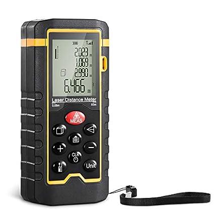 Digital Láser Distancia, Medidor de distancia de láser de mano de alta precisión 40m, distancia de medida 0, 05~40m/±1, 5mm, (Modo Pitagórico, Cálculo de Volumen y Área, Metro Láser Digital) …
