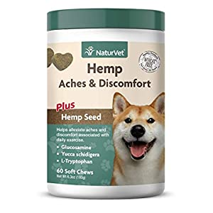 NaturVet – Hemp Aches & Discomfort For Dogs – Plus Hemp Seed – 60 Soft Chews – Helps Alleviate Aches & Discomforts – Enhanced With Glucosamine, Yucca Schidigera & L-Tryptophan