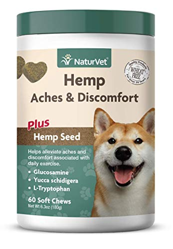 NaturVet - Hemp Aches & Discomfort For Dogs - Plus Hemp Seed - 60 Soft Chews - Helps Alleviate Aches & Discomforts - Enhanced With Glucosamine, Yucca Schidigera & L-Tryptophan
