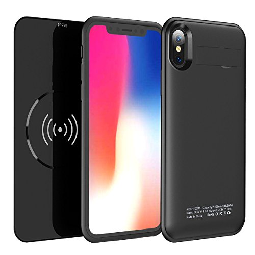 Qi Wireless Charging Battery Case for iPhone X- 2 in 1 Rechargeable Extended Protective Wireless Battery Pack Charging Case with Magnetic Removable Wireless Power Bank 5000mAh Foldable Kickstand-Black