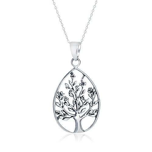 Egyptian Costume Jewelry Wholesale (Sterling Silver Oval Open Cut Tree of Life Necklace Pendant, 26mm)
