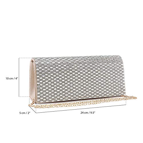 Purse Bag Clutch Mabel London Diamante Design and Beige Womens 1 Evening Mirror Wedding Encrusted nv8znx