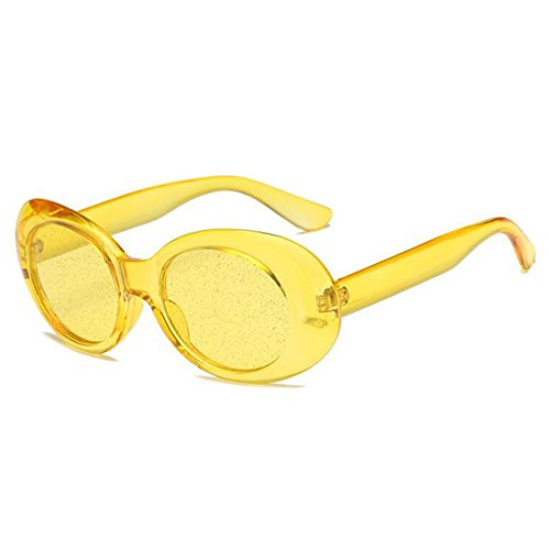 QIFANDI UV400 Clout Goggles Bold Retro Oval Mod Thick Frame Sunglasses (Yellow Frame&Yellow ()