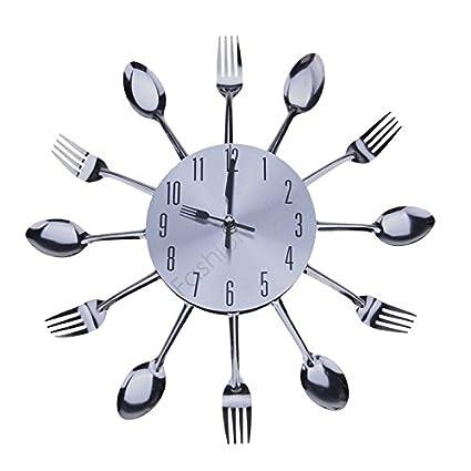 Cool elegante diseño moderno reloj de pared plateado cubertería de cocina para utensilios de cocina diseño