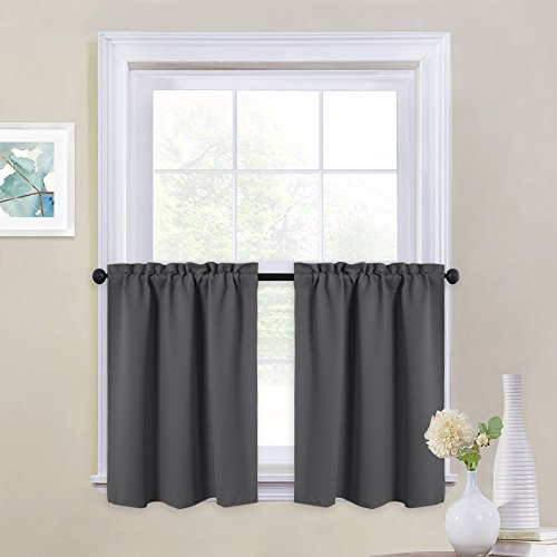 (NICETOWN Kitchen Blackout Window Tiers - Thermal Insulated Home Decor Blackout Curtain Valances for Cafe (29W by 24L Inches, Grey, 1 Pair) )