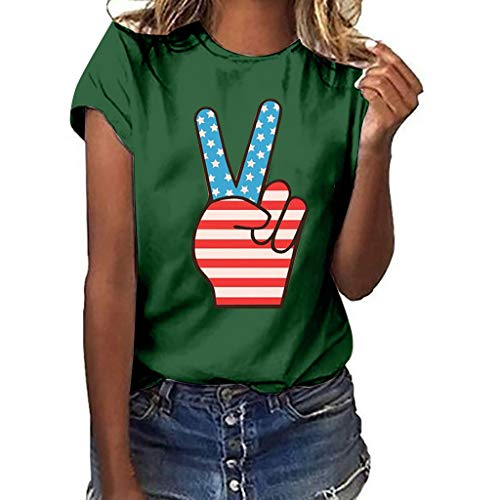 Women Casual Short Sleeve Crewneck T-Shirts Summer Loose Funny Victory Gesture Print Blouse Tops JHKUNO Green