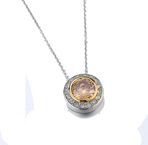 gnac CZ Pendant Necklace 2 Tone With Chain ()