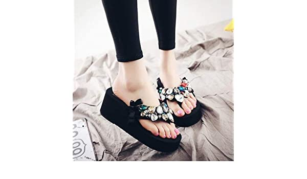 b6d1a58f0a949 Amazon.com  Summer Lady s Crystal Slippers High Heel Sandals Casual Fashion  Female Beach Flip Flops Women Brand Solid Black EVA  Kitchen   Dining