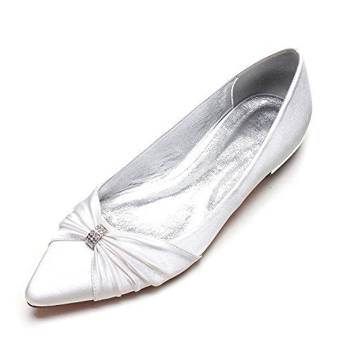 Corte Feste Scarpe shoes Sposa Scarpe Grande Jane da White da Misura 37 Tacco Donna Chiusa Elegant high Punta da Basso Raso U41qn1S