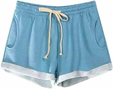 ff6fa4d0b4b3a9 JOFOW Womens Sports Shorts Summer Elastic Drawstring Tie SolidLoose Comfy  Mini Pants