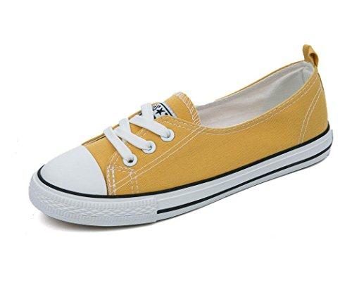 SHFANG Señora Zapatos Permeabilidad Sencillo Ocio Zapatos de lona Movimiento Estudiantes Verano Escuela de Compras Cuatro colores Yellow