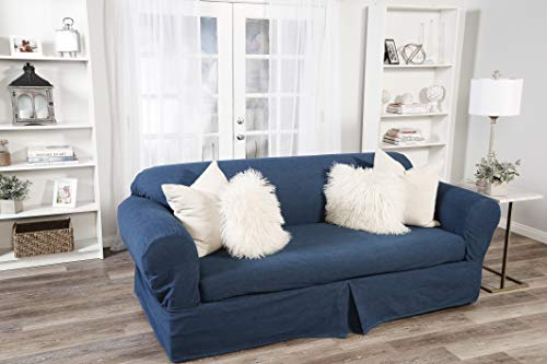 - 2 Piece Cotton Washed Heavy Denim Sofa Slipcover, Blue