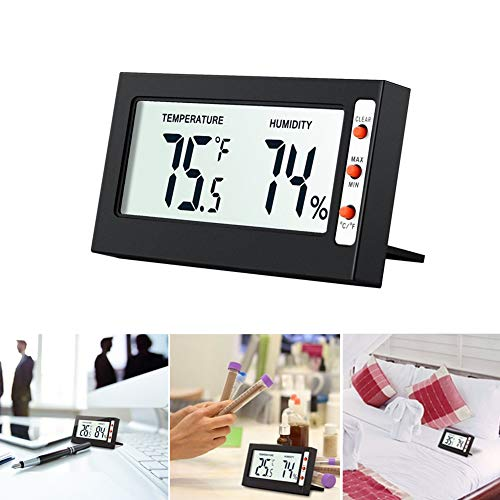 1pc Digital Hygrometer Thermometer,LCD Temperature Humidity Meter,Mini Thermometer Hygrometer,Accurate Readings Humidity Gauge for Home,Warehouse,Office,Cars,Wine Cellar(Black) ()