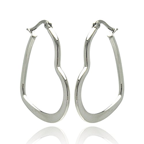 Stainless Steel High Polished or Textured Heart Womens Hoop Earrings (Other Sizes)