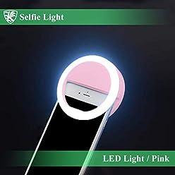 スマートフォン 自撮りライト セルフィーライト ピンク クリップ固定式 電池タイプ LEDリングライト 3段階の明るさ調整 スマフォ・タブレットなど様々なデバイスに 【AK-PH-021P】