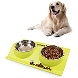 Double Dog Cat Bowls, Stainless Steel Nonslip No Spill Pet Food Water Feeder (green)