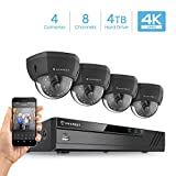 Cheap Amcrest 4K 8CH Security Camera System w/ 4K (8MP) NVR, (4) x 4K (8-Megapixel) IP67 Weatherproof Metal Dome POE IP Cameras (3840×2160),Pre-Installed 4TB Hard Drive (Black)
