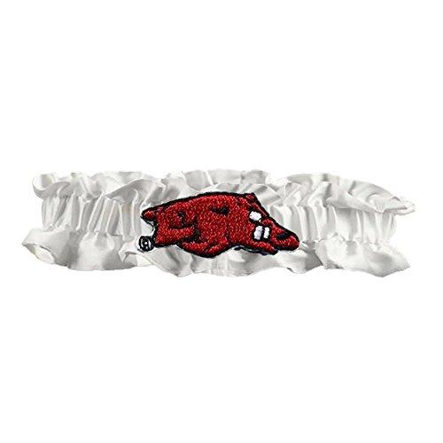 Divine Creations Arkansas Razorbacks NCAA Dainty Satin Garter (White)