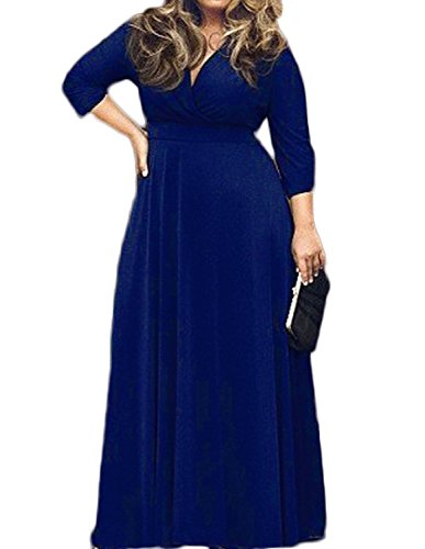 POSESHE Women's Solid V-Neck 3/4 Sleeve Plus Size Evening Party Maxi Dress – Large, Blue