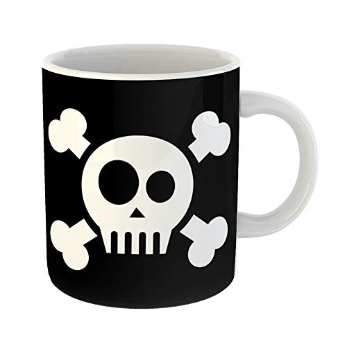 Emvency Coffee Tea Mug Gift 11 Ounces Funny Ceramic Cartoon Skull Crossed Bones Adventure Aware Gifts For Family Friends Coworkers Boss -