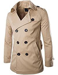 Benibos Men Split Lapel Double Breasted Belted Trench Coat