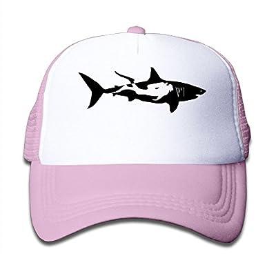 Shark Diver Diving Man Boy and Girl Snapback Mesh Baseball Hats Youth Size Caps