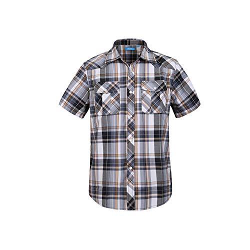 Boy's Casual Short Sleeve Snap Plaid Button Down Shirt (#2 Yellow & Grey, 10)