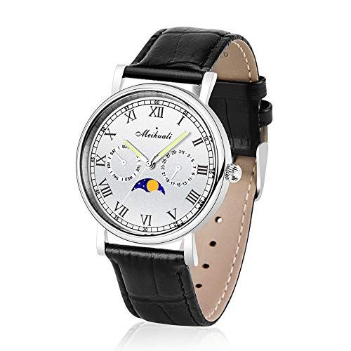 Wrist Watch Men and Women's Quartz Watch with Moon Phase Indicator, Luminous Hands, Waterproof, Roman Numerals Display Classic Fashion Watch