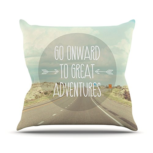 Kess InHouse Jillian Audrey Go Onward to Great Adventures Throw Pillow Typography 18 by 18