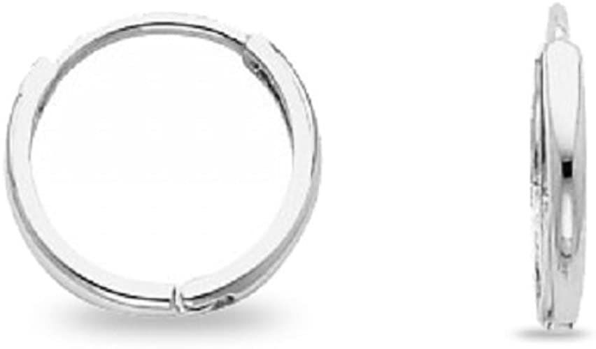 Small Huggie Hoop Earring Solid 14k White Gold Round Plain Design Polished Tiny