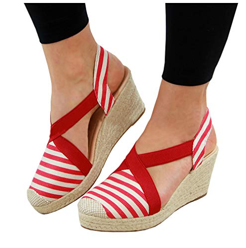 LAICIGO Womens Platform Wedge Espadrille Heel Round Toe Slingback D'Orsay Sandals