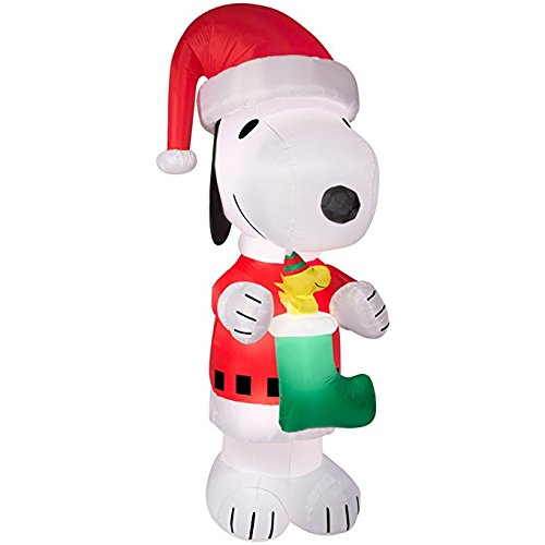 10 Foot Santa Claus Snoopy and Woodstock in Stocking Light Up Airblown Inflatable by Gemmy
