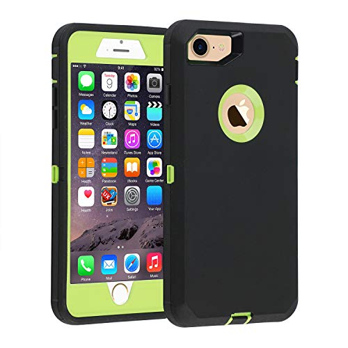 iPhone 7/8 case, [Heavy Duty] Armor 3 in 1 Built-in Screen Protector Rugged Cover Dust-Proof Shockproof Drop-Proof Scratch-Resistant Tough Shell for Apple iPhone 7 4.7 inch Black/Green