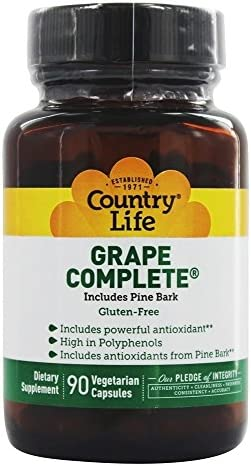 Country Life – Grape Complete with Pine Bark – 90 Vegetarian Capsules