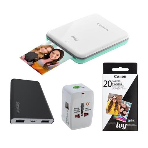 2030 Mint - Canon Ivy Mini Photo Printer Mint Green - Bundle ZP-2030-20 Zink Photo Paper Pack (20 Sheets), Green Extreme Universal Travel Adapter with USB Port, Energizer 8000mAh Lithium-Ion Power Bank