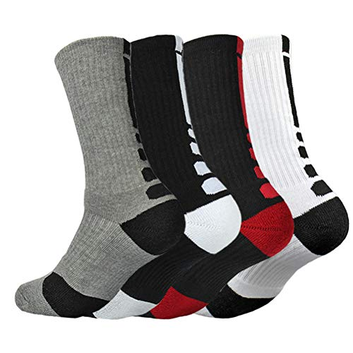 4Pack Men's Basketball Sock Cushion Athletic Long Sports Outdoor Socks