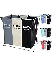135L Laundry Cloth Hamper Sorter Basket Bin Foldable 3 Sections with Aluminum Frame 26''×24''H Washing Storage Dirty Clothes Bag for Bathroom Bedroom Home Storage Basket(3 Liner)