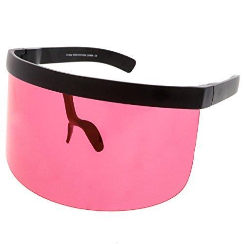 sunglassLA - Futuristic Oversize Shield Visor Sunglasses With Flat Top Colored Mono Lens 172mm - Sunglasses Amazon Colored