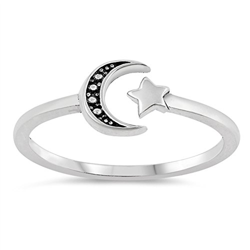 (Antiqued Sun Moon Midi Knuckle Dainty Ring .925 Sterling Silver Band Size 5)